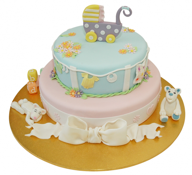 Baby Shower First Birthday FONDANT BABY Flower Cake Topper Baptism ...