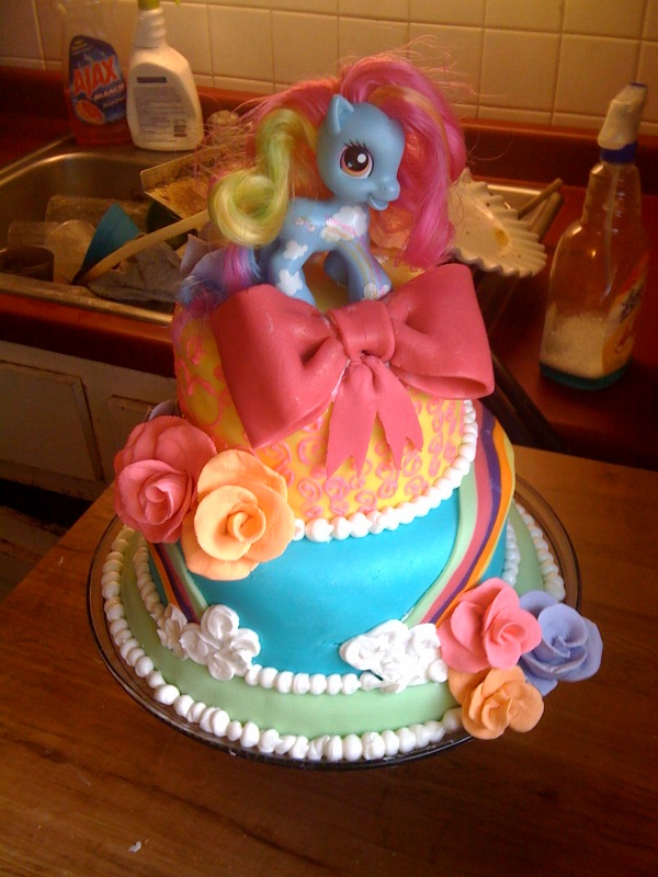 My Little Pony 3 Tiered Birthday Cake by samandallie on Cake Central ...