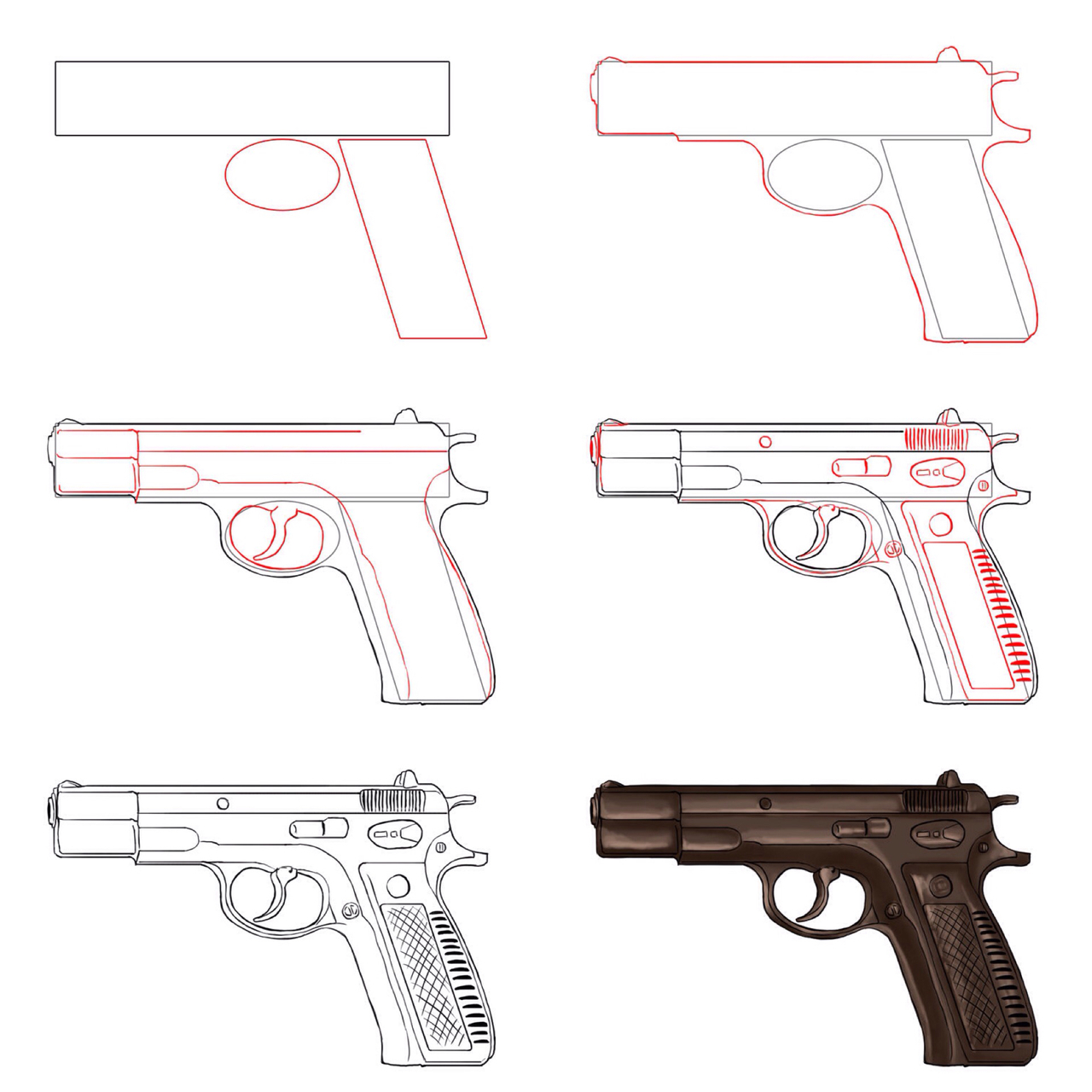 how to draw finger guns