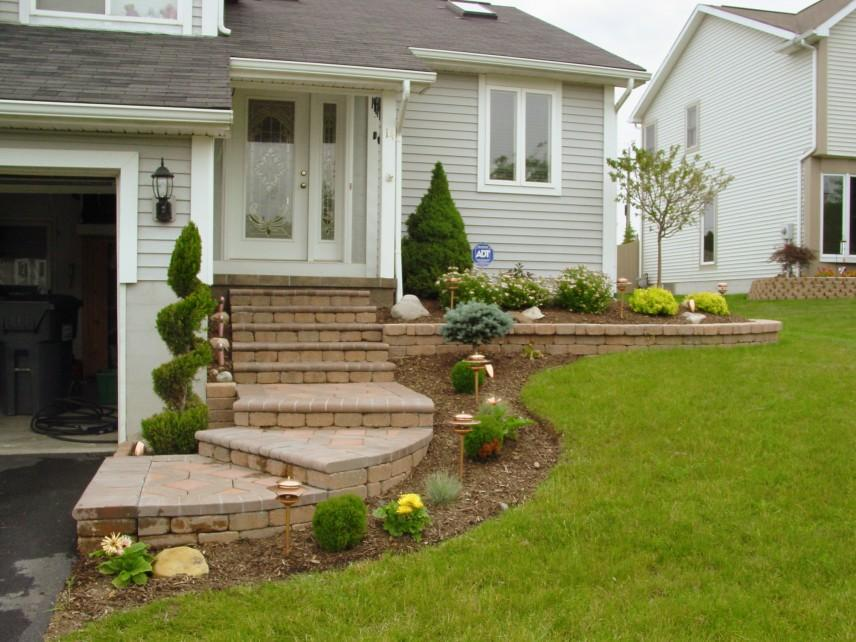 landscaping the white and big house with the long and beautiful front step design that look so amazing elegant and luxurious with the smart and great - Front Steps Design Ideas
