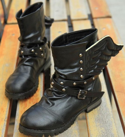Wholesale Europe and America cool joker style rivet strap martin boots SY-B1173 black - Lovely Fashion