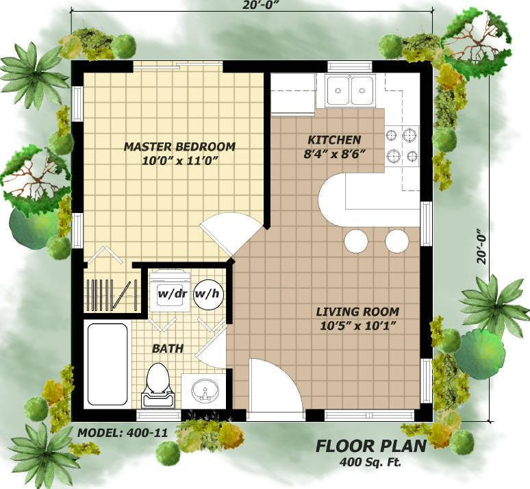400 sq ft house plans hpg 400 1 400 square feet 1 bedroom for 400 sq foot house