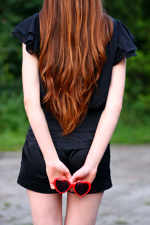 Baño Color Rojo Pelo:Black Sheer Ruffle Collar Blouse
