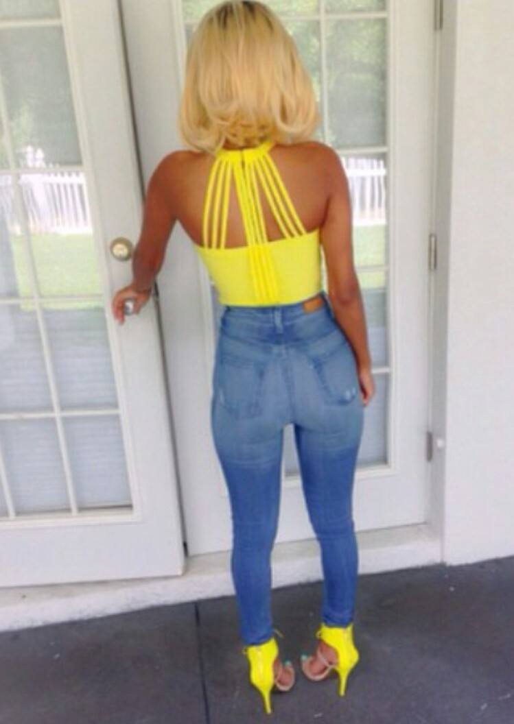 Neon Yellow Tank Top  High Waisted Jeans  Neon Yellow Heels