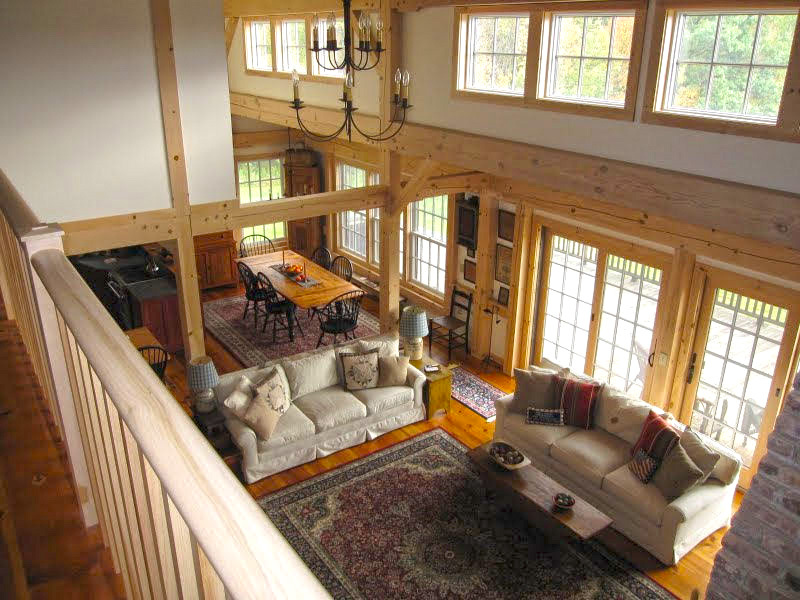 Graceful pole barn home living space with alder wooden Barn plans with living area