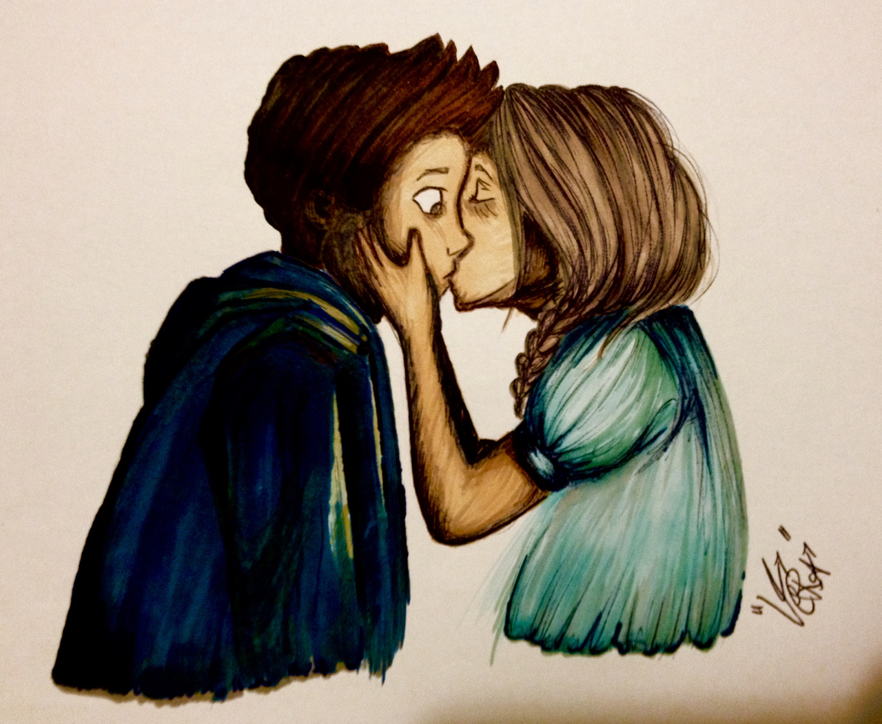 Girl and boy hugging drawing