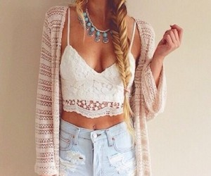 Shorts: high waisted, boho, necklace, jewels, lace up, beige, cardigan, knit, crochet, cropped, summer outfits, acid wash, ripped, denim shorts, denim jacket, knitted cardigan, crop tops, white t-shirt, white crop tops, streetwear, shirt - Wheretoget