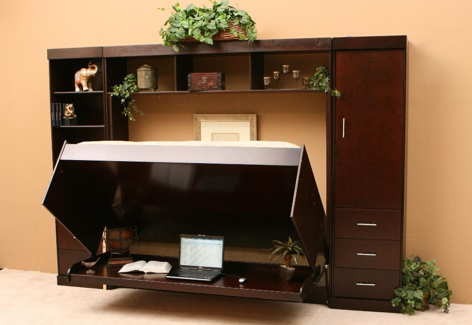 Tiny Home Designs: Concealed Office Wall Beds Brown And Black Wooden Material