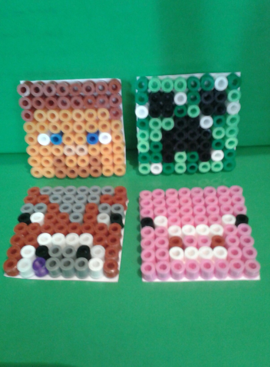 Minecraft hama bead faces we heart it arts and crafts for Minecraft crafts for kids