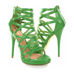 Green Fuax Cage Strappy Gladiator Heel Sandal - Polyvore  We