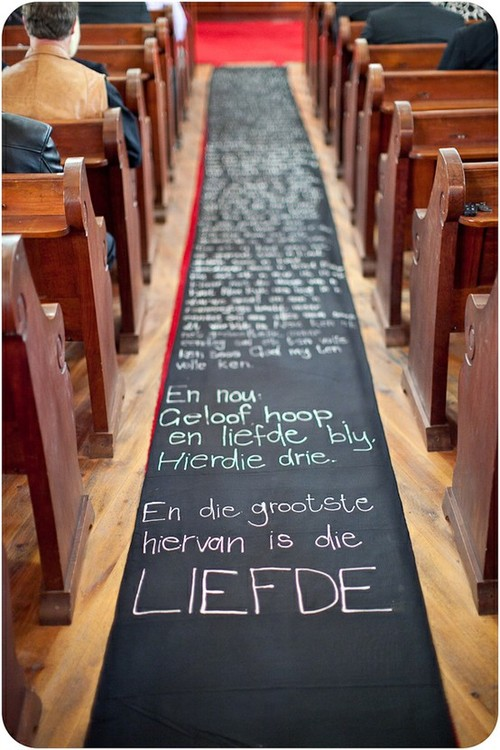 Wedding Ideas Cute Runner idea for wedding would be either lyrics to our