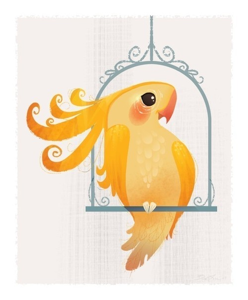 Yellow Birdie Mini Print by britsketch on Etsy