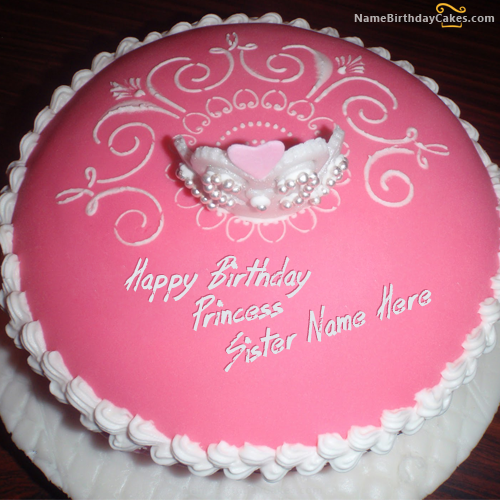 Write name on Princess Birthday Cake For Sister - Happy ...