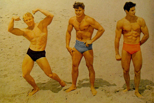 1950s Muscle Men On Beach In Swim Trunks Bodybuilding B | Flickr ...