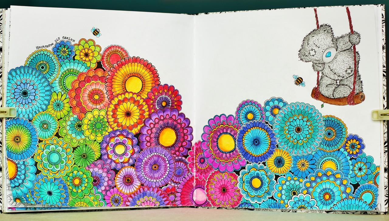 Раскрашиваем раскраску антистресс таинственный сад