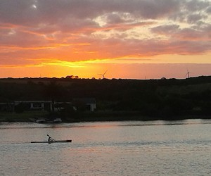 rowing sunset beautiful