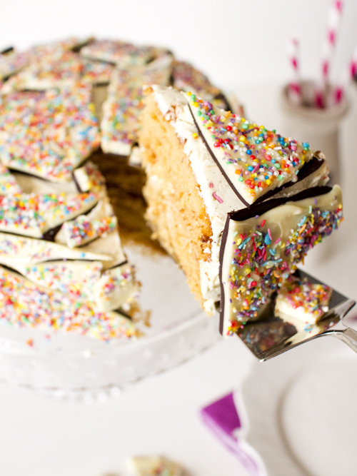 spicy icecream: Vanilla Malt Sprinkle Bark Cake
