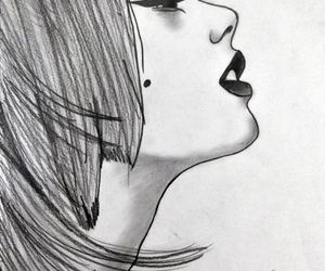 girl draw black white
