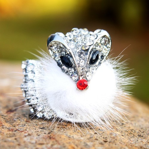 055 large Unique Clear Rhinestone Studded Fluffy Feather Fox Animal Ring at Online Cheap Fashion Jewelry Store Gofavor