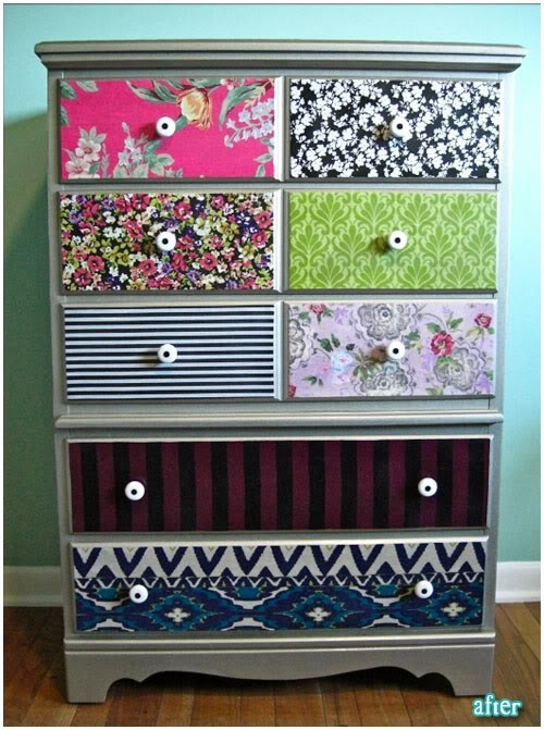 DIY Projects / It's fabric! Use mod podge to adhere it and then go over it with a finishing spray so it won't feel tacky.