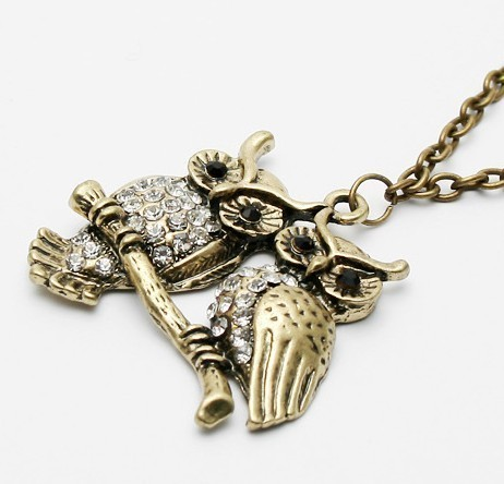 1 54 3 large Vintage Antique Brass Owl Lovers Pendant Chain Necklace at Online Cheap Vintage Jewelry Store Gofavor