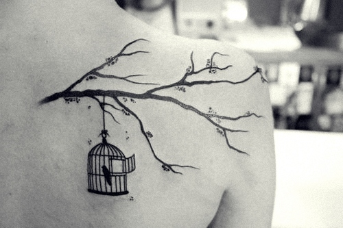 Tree with Bird Cage Tattoo