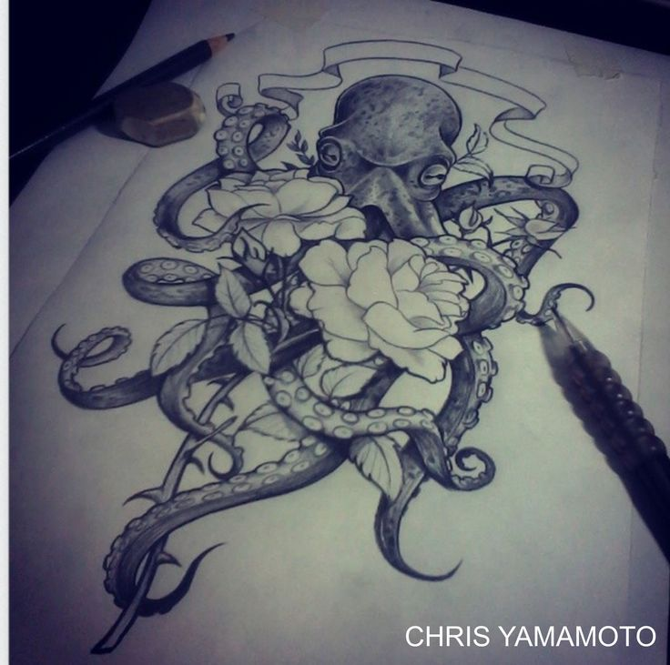 Octopus Flower Sketch By ケイ「ana」 Whi