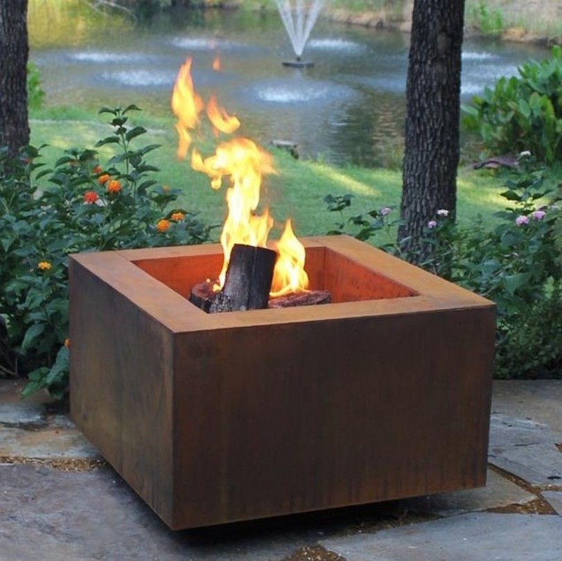 Stunning Prefab Outdoor Wood Burning Fireplaces With Square Shape And Brown Painted Wooden