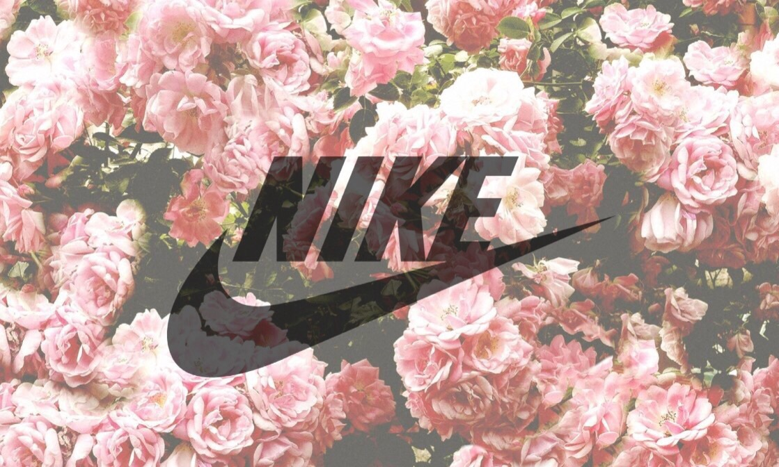 faded Nike on roses background | girl, tumblr and black