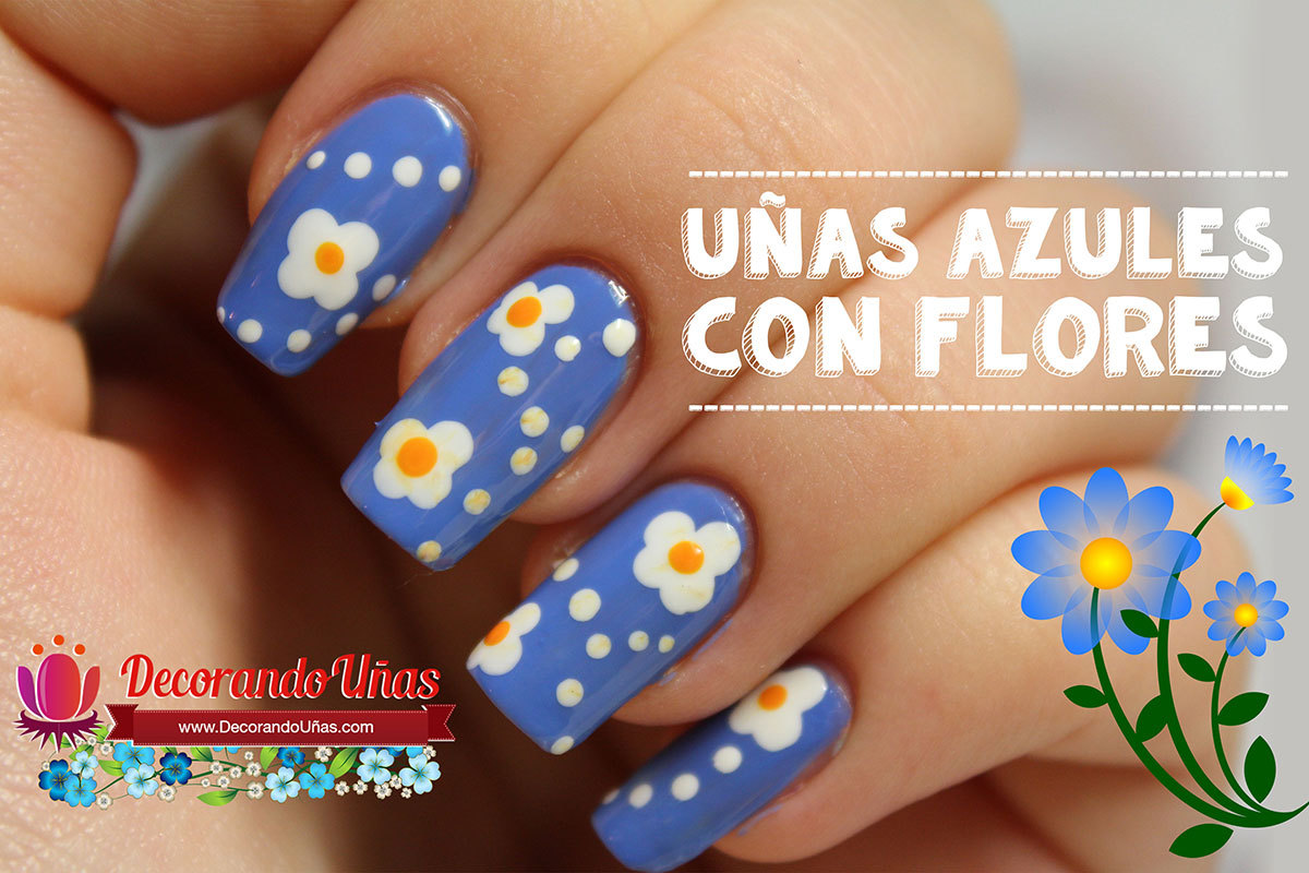 U as azules decoradas con flores tutorial paso a paso - Decoracion de unas ...