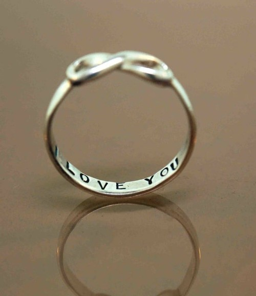 Shiny Things / stamped silver infinity ring.