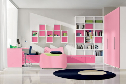 Pink Purple White Teen Girl's bedroom interior and furniture decor ...