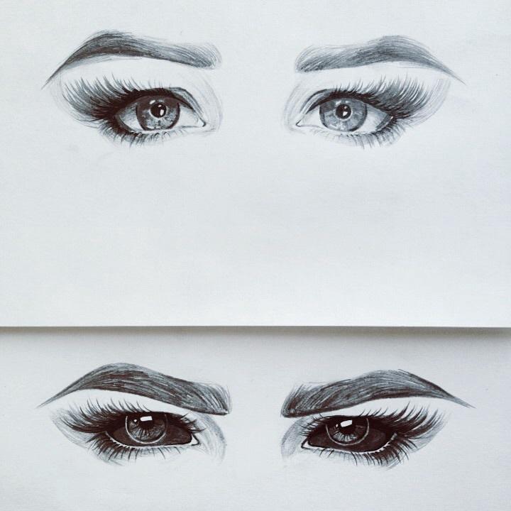 Рисуем глаза и брови карандашом