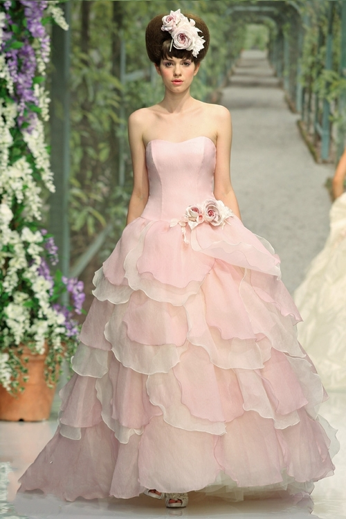 Hilary 39 s blog vintage pink ruffled wedding dress bride for White with pink wedding dresses