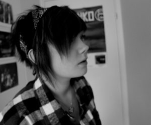 emo girl black and white
