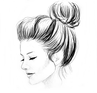 how to draw a girl face with a bun