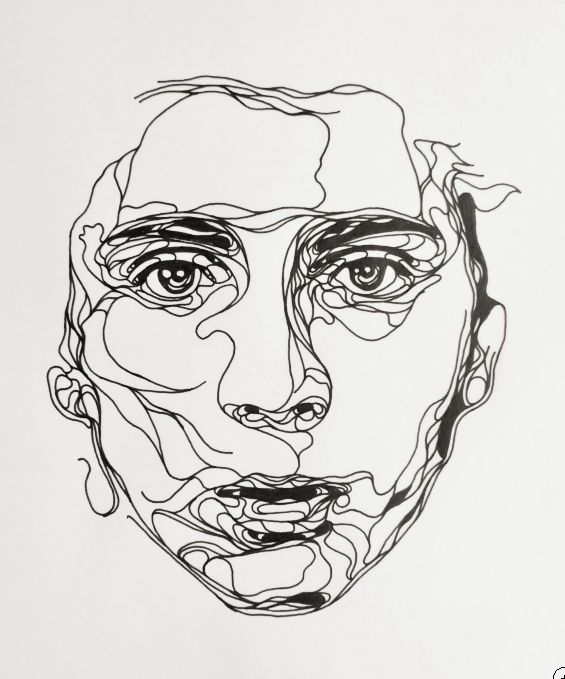 Single Line Drawing Artists : Kris trappeniers ink drawing continuous line