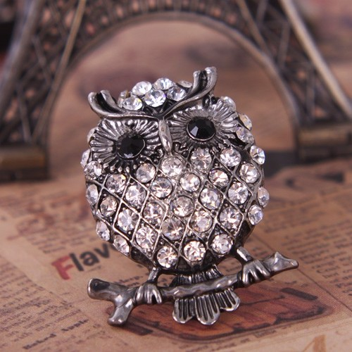 54f large Vintage Silver Tone Full Rhinestone Encrusted Owl Animal Ring at Online Cheap Vintage Jewelry Store Gofavor