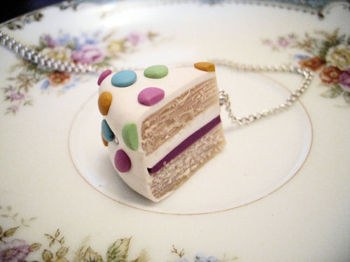 Etsy Transaction - Slice of Polka Dot Cake Necklace