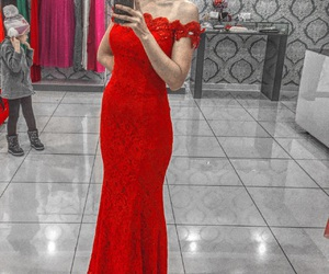 dress red rose girl