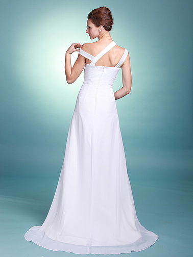 Neckline Chapel Train Informal Sheath Summer Beach Flowy Wedding Dresses