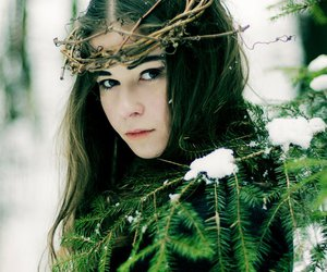 girl forest snow