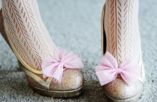 Pretty Sparkle Pink Bow Shoe Clips by PixelandHank on Etsy