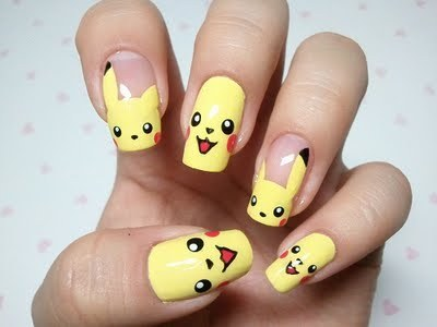 art, creative, nails, pikachu - inspiring picture on Favim.com