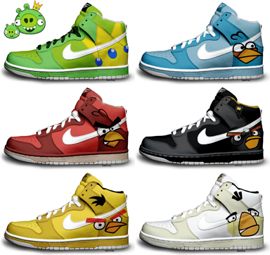 Angry Birds Nike Dunks by ~kaycunana
