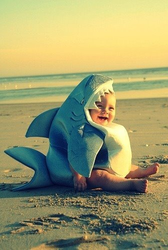 baby, beach, happy, life, shark - inspiring picture on Favim.com