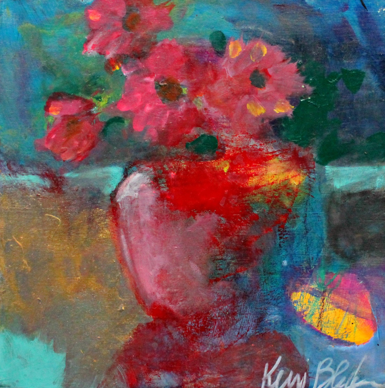 Contemporary abstract still life paintings for Modern flower paintings