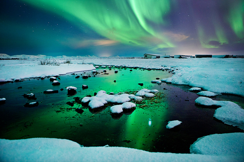 "500px / Photo ""River-light - Iceland - Northern lights - aurora borealis "" by Olinn Thorisson"