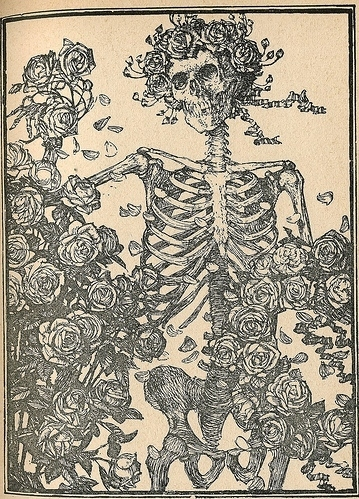 book, flowers, illustration, macabre, skeleton, wild things - inspiring picture on Favim.com