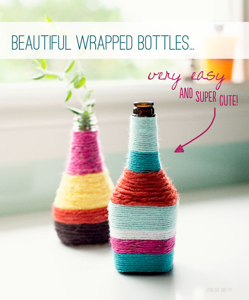 Get Crafty: DIY Wrapped Bottles | Penelope and Pip